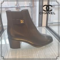 CHANEL Blended Fabrics Chain Plain Ankle & Booties Boots