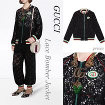 GUCCI Flower Patterns Casual Style Varsity Jackets