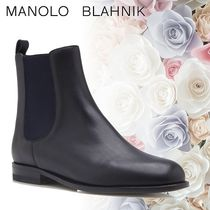 Manolo Blahnik Round Toe Casual Style Plain Leather Chelsea Boots