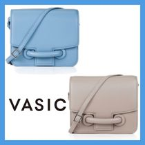 VASIC Casual Style Plain Leather Shoulder Bags