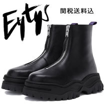Eytys Round Toe Rubber Sole Casual Style Unisex Plain Leather