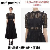 SELF PORTRAIT Puffed Sleeves Medium Lace Elegant Style Dresses