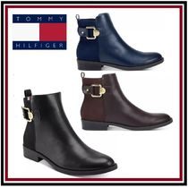 Tommy Hilfiger Round Toe Faux Fur Plain Block Heels Ankle & Booties Boots