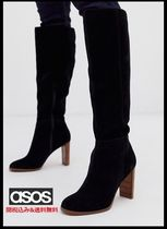ASOS Casual Style Suede Plain Block Heels Over-the-Knee Boots