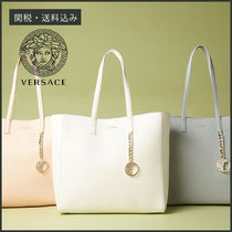 VERSACE Tassel A4 Plain Leather Office Style Totes