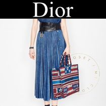 Christian Dior Casual Style Denim Blended Fabrics Pleated Skirts