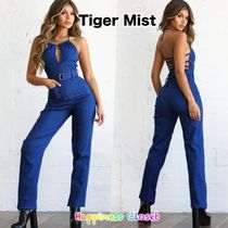 Tiger Mist Casual Style Denim Halter Neck Long Dresses