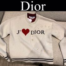 Christian Dior Crew Neck Casual Style Cashmere Street Style Long Sleeves