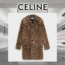 CELINE Leopard Patterns Fur Long Shearling Coats