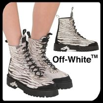 Off-White Zebra Patterns Mountain Boots Round Toe Rubber Sole