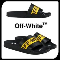 Off-White Unisex Blended Fabrics Street Style Bi-color Shower Shoes