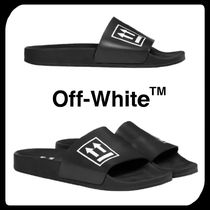 Off-White Unisex Street Style Bi-color Shower Shoes Shower Sandals