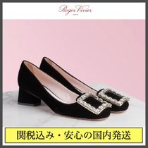 Roger Vivier Round Toe Velvet Plain Block Heels With Jewels Elegant Style