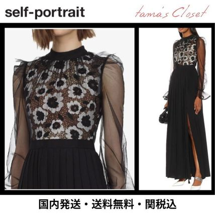 Flower Patterns Long Sleeves Long Lace Dresses