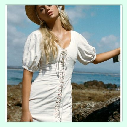 Linen Plain Puff Sleeves Dresses