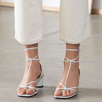 & Other Stories Square Toe Casual Style Plain Leather Sandals Sandal