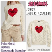 POLO RALPH LAUREN Crew Neck Cable Knit Heart Long Sleeves Cotton Knitwear