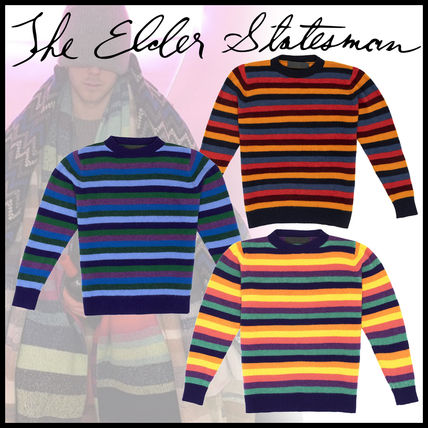 Stripes Cashmere Tie-dye Long Sleeves Sweaters