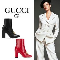GUCCI Flower Patterns Square Toe Plain Leather Mid Heel Boots