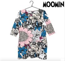 Moomin Crew Neck Flower Patterns Cropped Other Animal Patterns