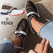 FENDI Monogram Casual Style Street Style Bi-color Leather
