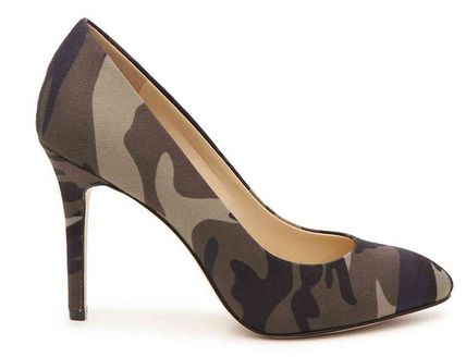 Camouflage Suede Plain Pin Heels Elegant Style