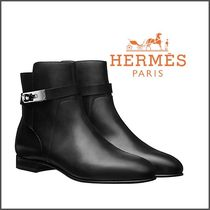 HERMES Plain Leather Ankle & Booties Boots