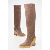 TOD'S Round Toe Casual Style Suede Plain Logo Wedge Boots