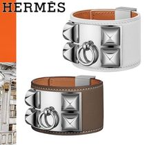 HERMES Collier de Chien Leather Elegant Style Bracelets