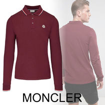 MONCLER Long Sleeves Plain Cotton Polos