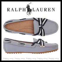 Ralph Lauren Round Toe Rubber Sole Casual Style Plain Leather Logo