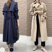 Street Style Plain Long Office Style Trench Coats