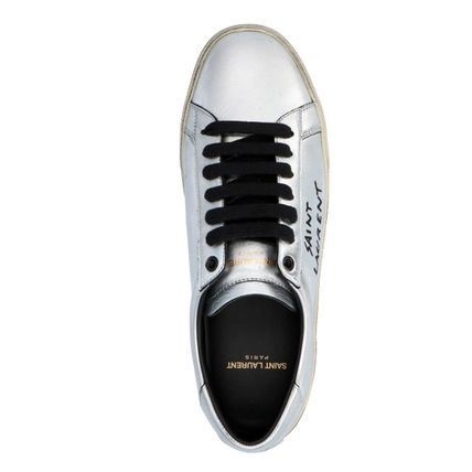Saint Laurent Low-Top Plain Toe Leather Low-Top Sneakers 3