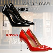 Sergio Rossi Plain Leather Pin Heels Elegant Style