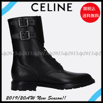 CELINE Blended Fabrics Plain Leather Engineer Boots