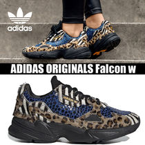adidas FALCON Leopard Patterns Round Toe Rubber Sole Casual Style