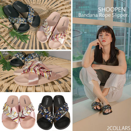 Open Toe Platform Casual Style Blended Fabrics Street Style