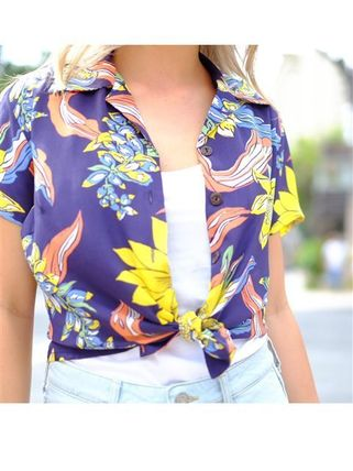 Tropical Patterns Casual Style Silk Short Sleeves