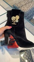 CHANEL Plain Elegant Style High Heel Boots