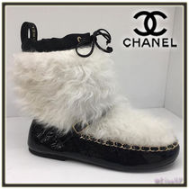 CHANEL Round Toe Casual Style Chain Leather Ankle & Booties Boots