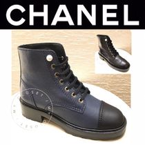CHANEL ICON Plain Toe Lace-up Casual Style Blended Fabrics Street Style