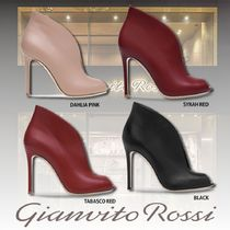 Gianvito Rossi Open Toe Plain Leather Pin Heels Elegant Style