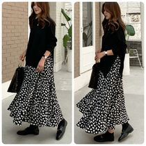 Heart Casual Style Flared U-Neck Long Sleeves Long Dresses