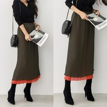 Casual Style Blended Fabrics Plain Long Maxi Skirts