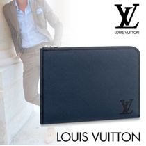 Louis Vuitton TAURILLON Blended Fabrics Bag in Bag A4 Plain Leather Clutches