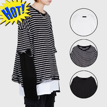 Raucohouse Stripes Unisex Street Style Long Sleeves Plain Cotton