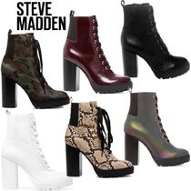 Steve Madden Plain Toe Lace-up Casual Style Block Heels Lace-up Boots