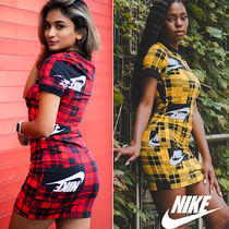Nike Crew Neck Tartan Casual Style Tight Cotton Short Sleeves