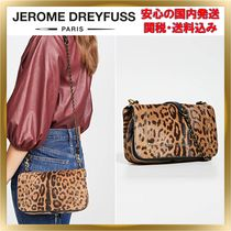Jerome Dreyfuss Leopard Patterns Chain Leather Elegant Style Shoulder Bags
