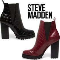Steve Madden Plain Toe Other Animal Patterns Block Heels Chelsea Boots